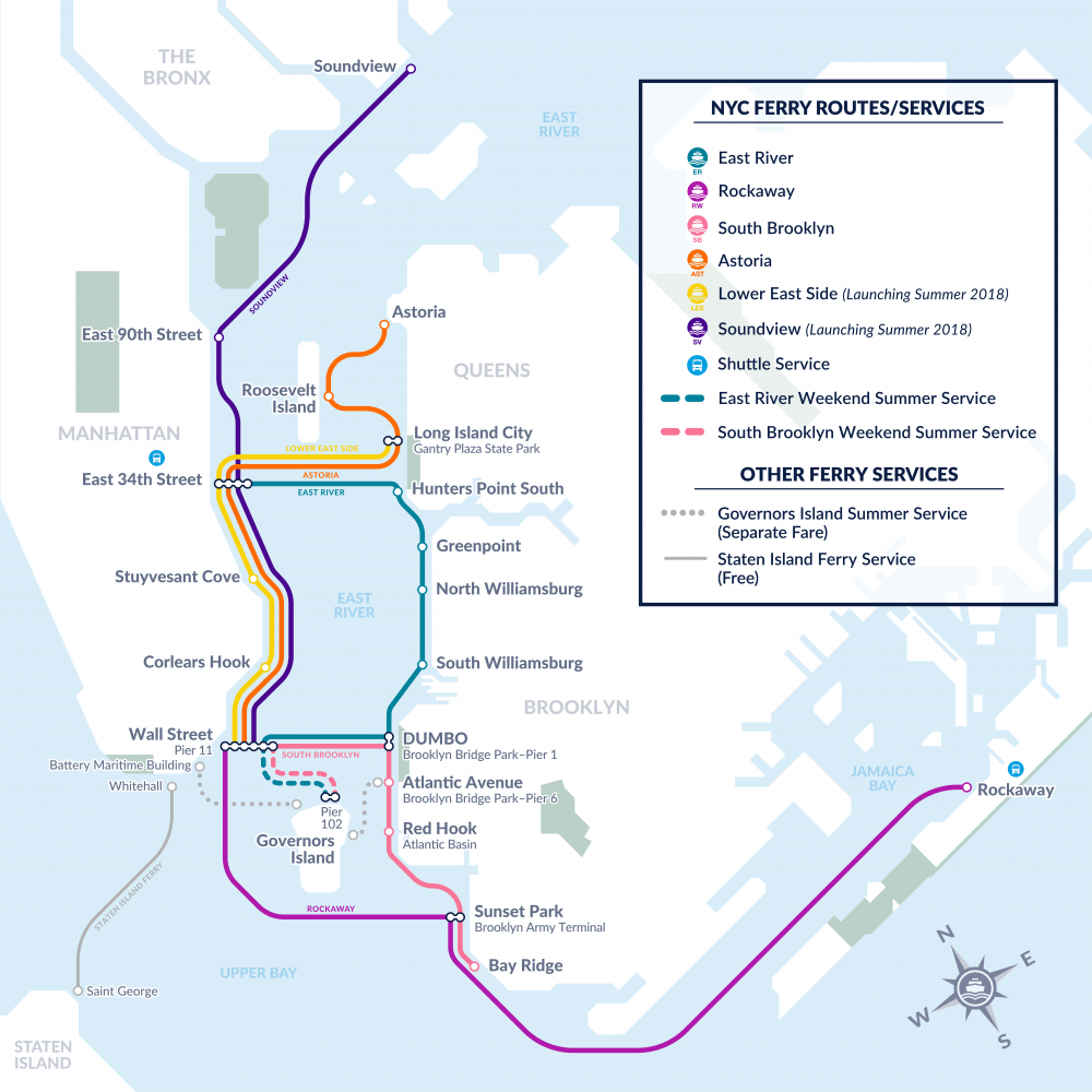 2018 Nyc Ferry Route Map New York City Ferry Service
