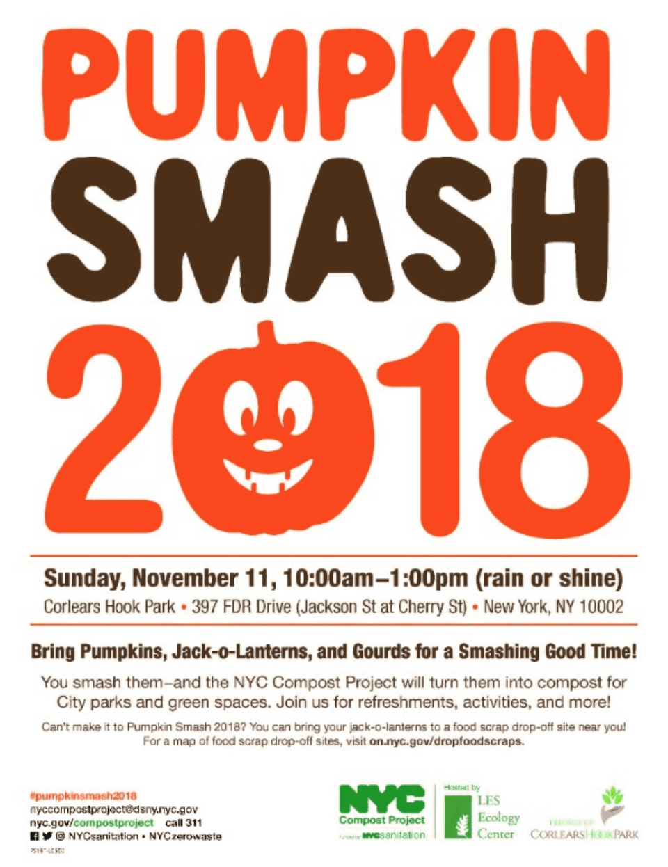 "The words ""Corlears Hook Pumpkin Smash 2018"" over a white a background"