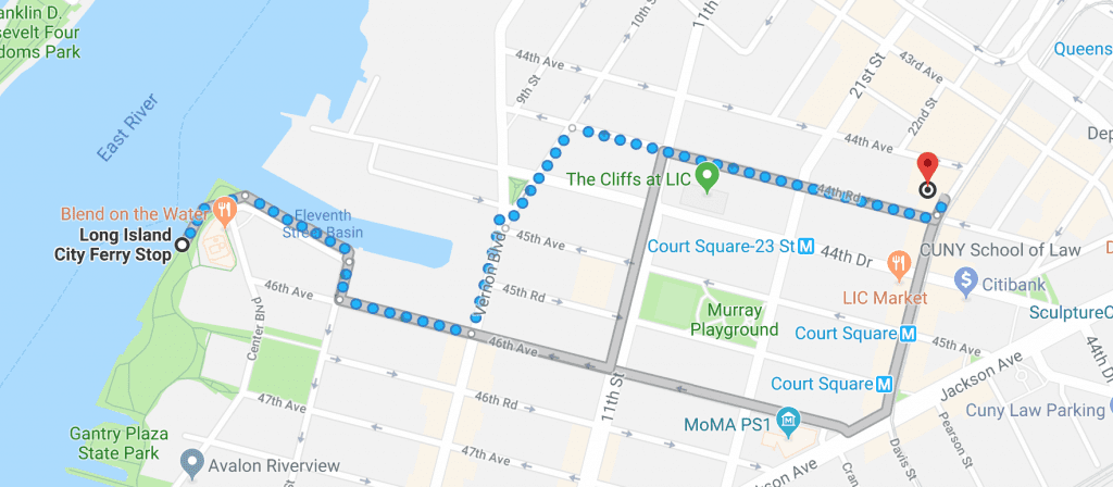 Google map image with directions to see Princess Particular, now playing at the Secret Theatre from the NYC Ferry LIC landing. Click the map for more directions.