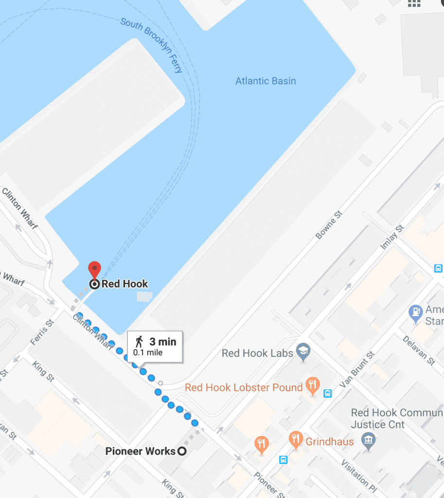 Map with directions from NYC Ferry's Red Hook ferry landing to Pioneer Works Red Hook Open Studios after party. A three minute walk, 0.1 mile walk northwest on Pioneer St toward Conover St