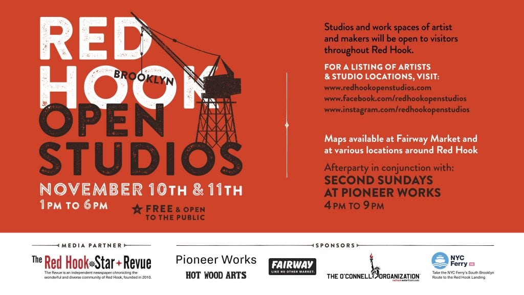"Poster with captions ""Red Hook Open Studios 2018"" and black construction crane over laps the some of the writing."