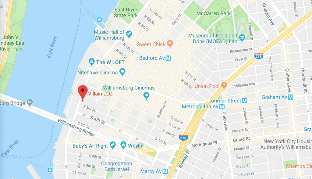 Google map image with directions on how to get to Smorgasburg x VICE Night Market