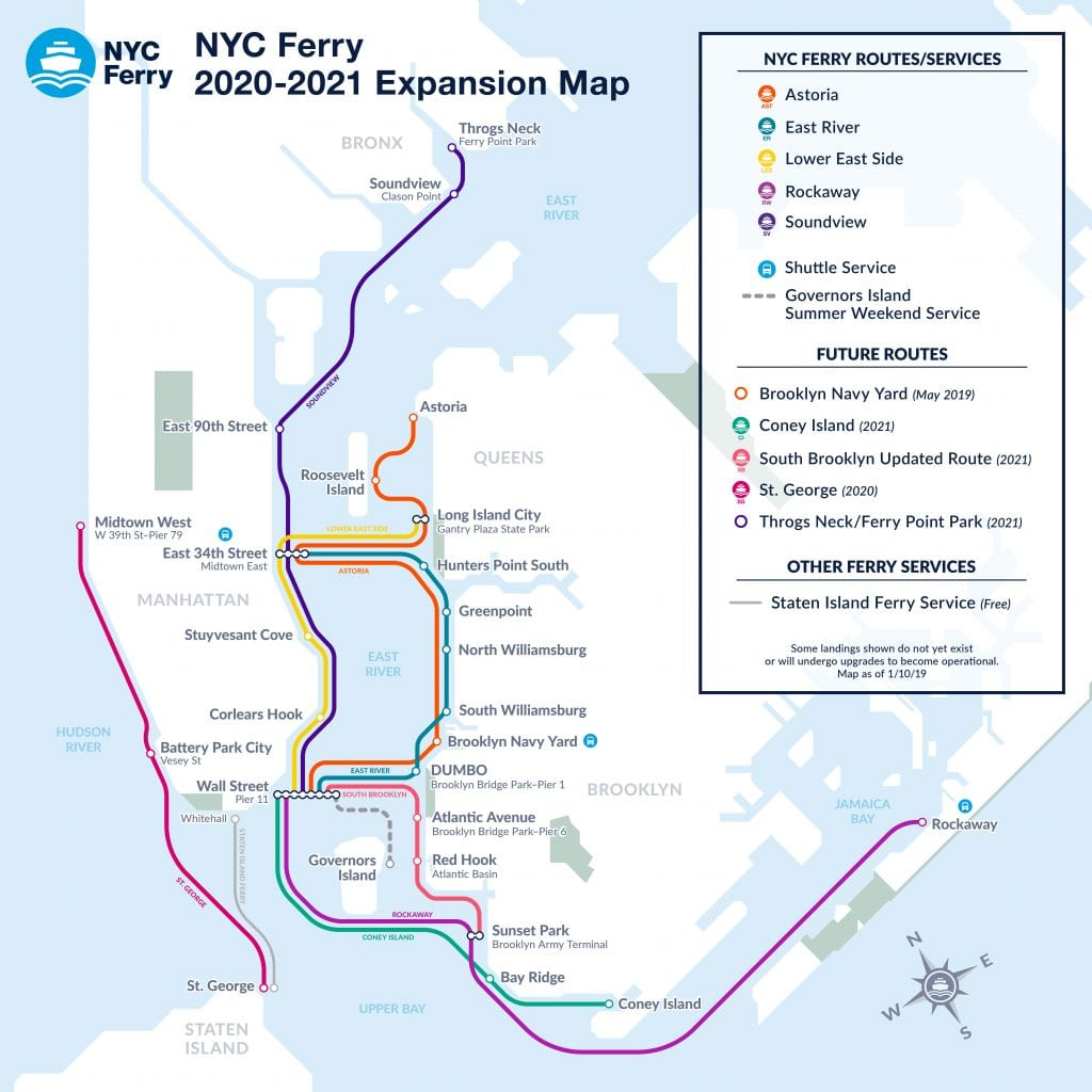 NYC Ferry Expansion Map End of 2021