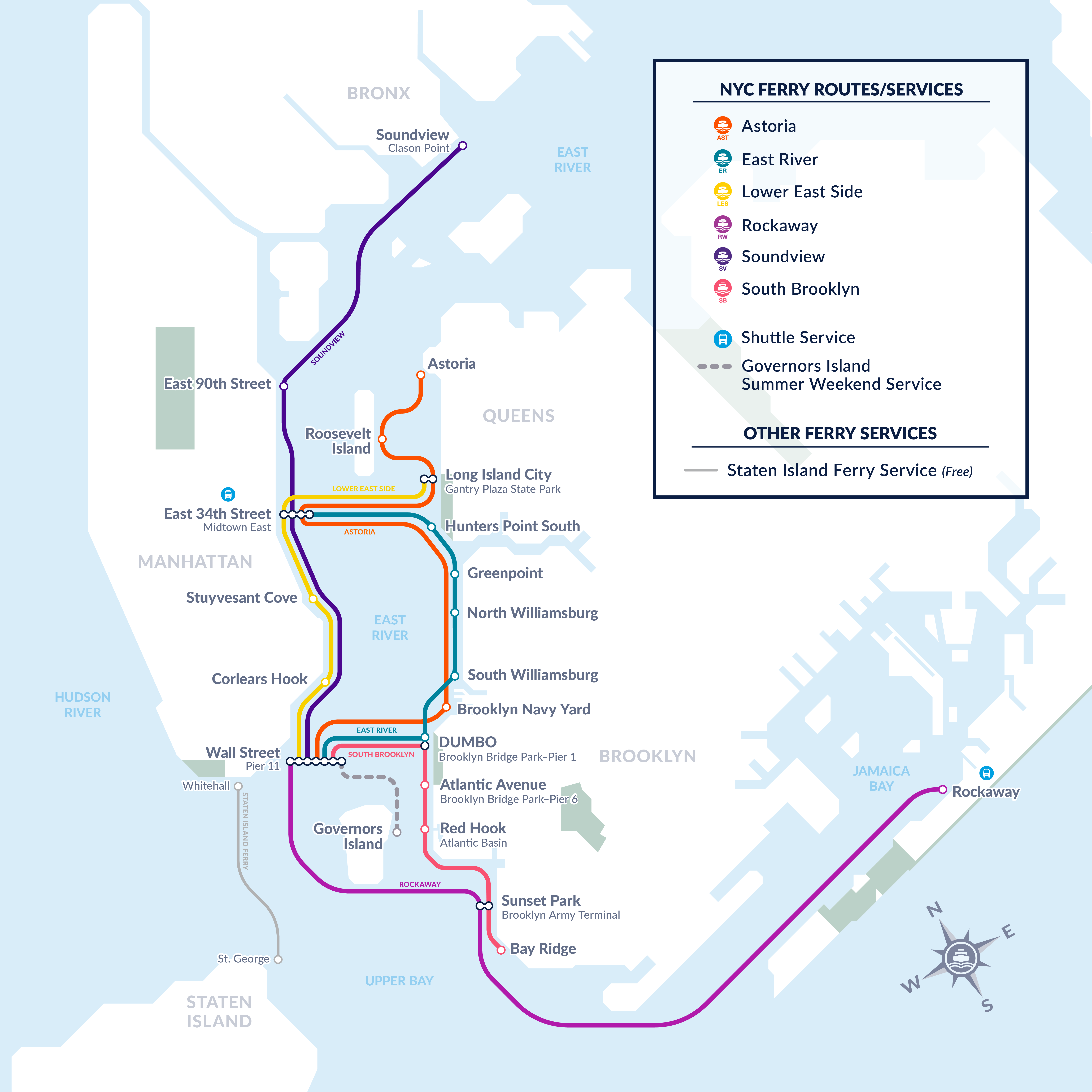 New York NYC Ferry Routes & Schedules